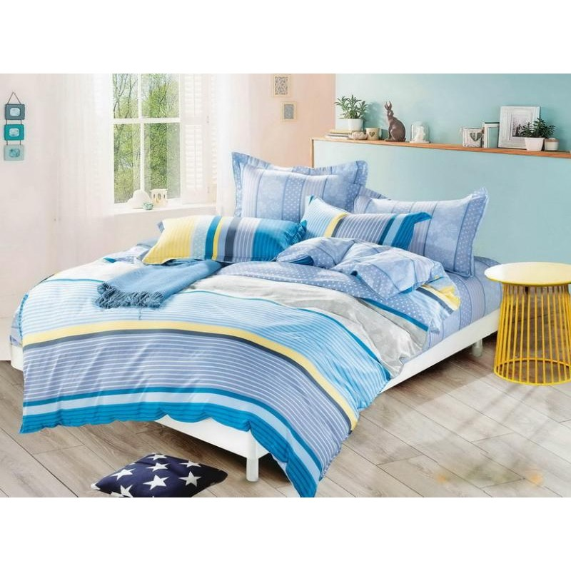 c55664f56b Kék csíkos Szatén Ágynemű - Luxustextil Webshop