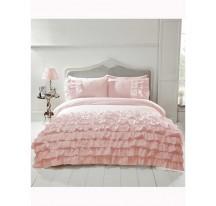 Rózsaszín fodros luxus ágynemű