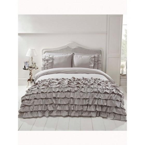 Fodros szürke luxus ágynemű